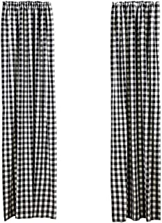 LGHome Buffalo Check Curtains Plaid Window Panels Farmhouse Classic Country Check Curtains - Black and White, 53x63inch, Pack of One Pair