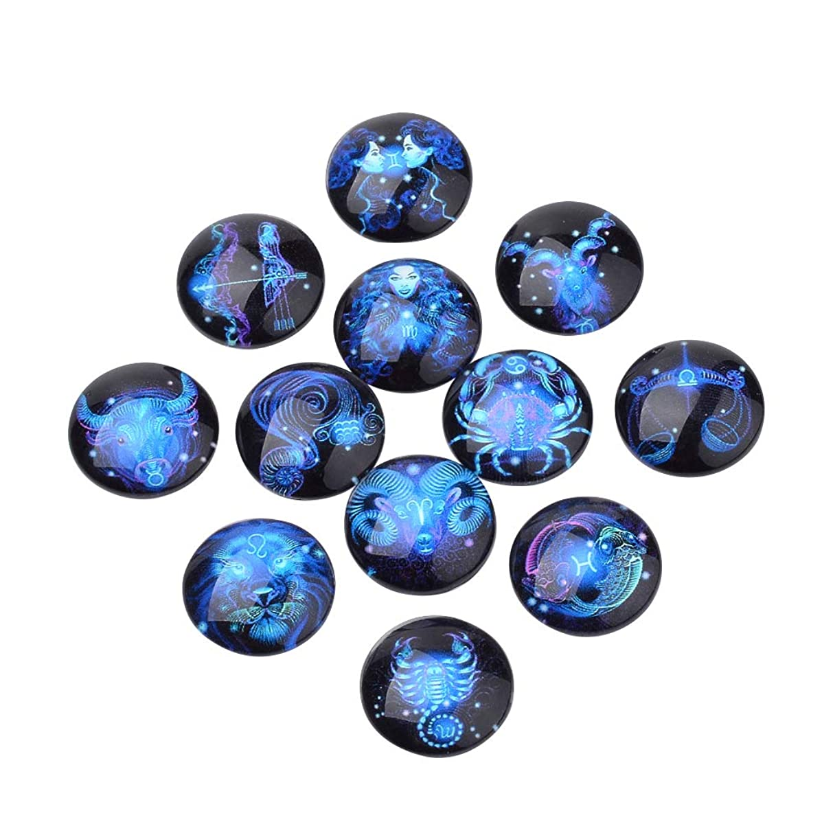 ARRICRAFT 20pcs Flatback Glass Cabochons Constellation/Zodiac Sign Pattern Dome/Half Round RosyBrown for DIY Projects Craft Jewelry Making