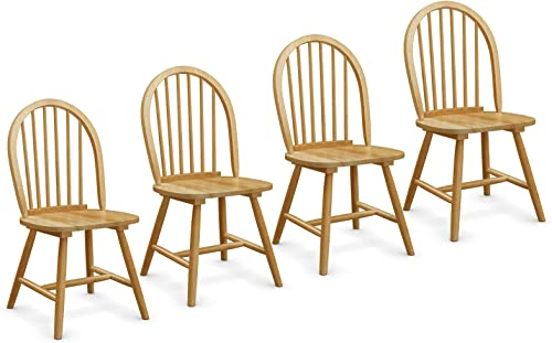 new arrival Giantex Set wholesale of 4 Windsor wholesale Chairs, Country Wood Chairs, Vintage Armless Dining Room Furniture, Nostalgia Arrow Back Dining Chairs, Oak (4) sale