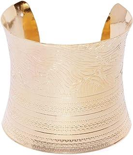 PRITA Stylish Carved Silver Metallic Hand Cuff Bracelet for Girls & Women