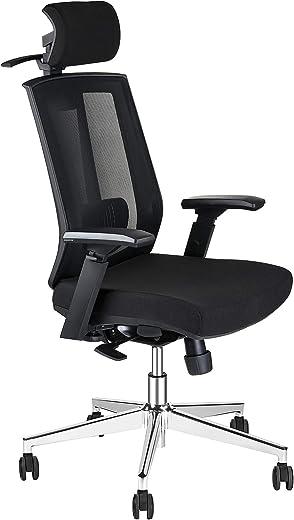 AMILZ Ergonomischer Bürostuhl, Drehstuhl mit Lordosenstütze, Netzstuhl mit Verstellbarer Kopfstütze, Rückenlehne, Armlehnen, Dicker Sitz und…