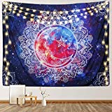 RosieLily Colorful Mandala Tapestry, 59'x 79' Sun Moon Star Celestial Tapestry Wall Hanging Boho Psychedelic Galaxy Wall Tapestry for Bedroom Living Room Dorm