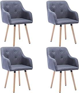 Tidyard Sillas de Comedor Sillas Cocina Sillas Salon Modernas,Tapizadas Tela Gris Oscura 55x55x84 cm 4 uds