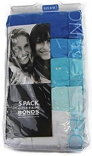 Bonds Kids Girls Underwear 5 Pack Pairs Briefs Undies White Blue Aqua Size 8 10 8-10 Multi-Coloured