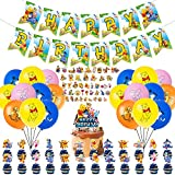 100 Pcs The Pooh Party Supplies, Happy Birthday Banner Kids Winnie Bear Theme Banner Bunting Flags, Winnie The Pooh Stickers, Multicolor Balloons with Winnie The Pooh, Cake Topper and Cupcake Toppers