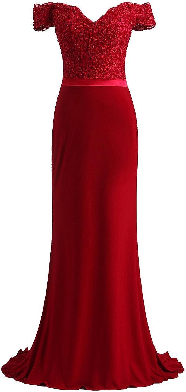 Sweet Bridal Women's Off Shoulder Lace Long Bridesmaid Dress Evening Dress