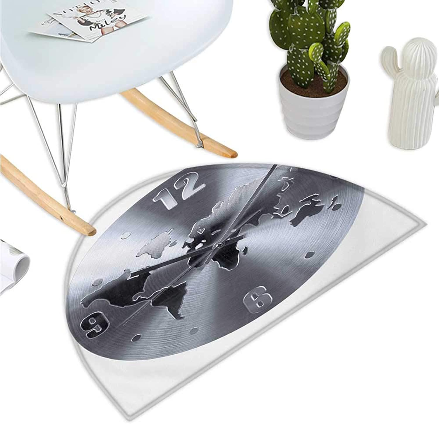 Clock Semicircular Cushion A Silver Clock Pattern with a World Map Checking The Time Hour and Minute Hand Print Entry Door Mat H 35.4  xD 53.1  Silver