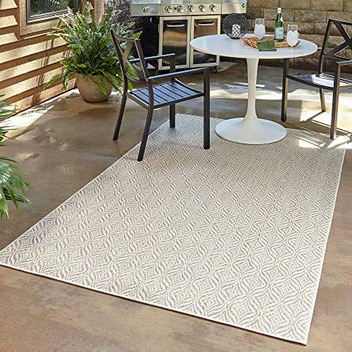 Unique Loom Trellis Collection Modern Geometric Transitional Indoor and Outdoor Flatweave Area Rug, 6 x 9 Feet, Tan/Ivory
