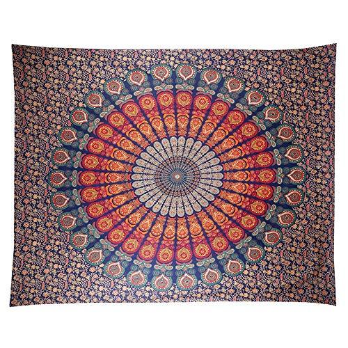 Anyasen Tapiz de pared mandala Tapestry Tapices tapiz hippie diseño de pavo real psicodélico colgante de pared bohemio Dorm Decor colchas indias para la pared para el dormitorio toalla playa 200x150cm