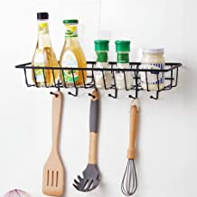 HOME CUBE Self Adhesive Bathroom Kitchen Wardrobe Hanging Organizer Storage Rack with 6 Hook Spoon Holder (Black, Standard Size)
