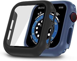 2 حزمة من ONMROAD متوافقة مع حافظة ساعة آبل 44 مم مع واقي شاشة، أسود وأزرق بديل لغطاء iWatch سلسلة 6 SE 5 4.