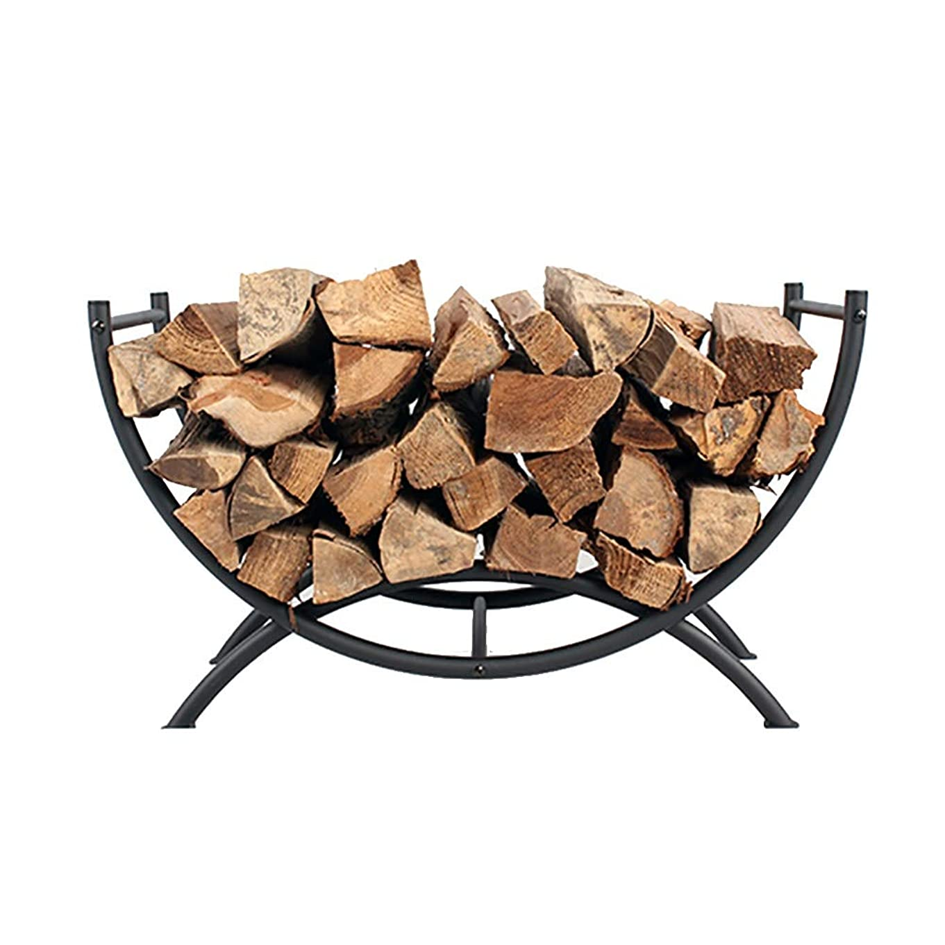 氷悲しい描写薪ラック MYL 15.2インチ背の高い薪ログは、湾曲し、屋内屋外の裏庭暖炉、ブラックのための薪ストレージログホルダーラック