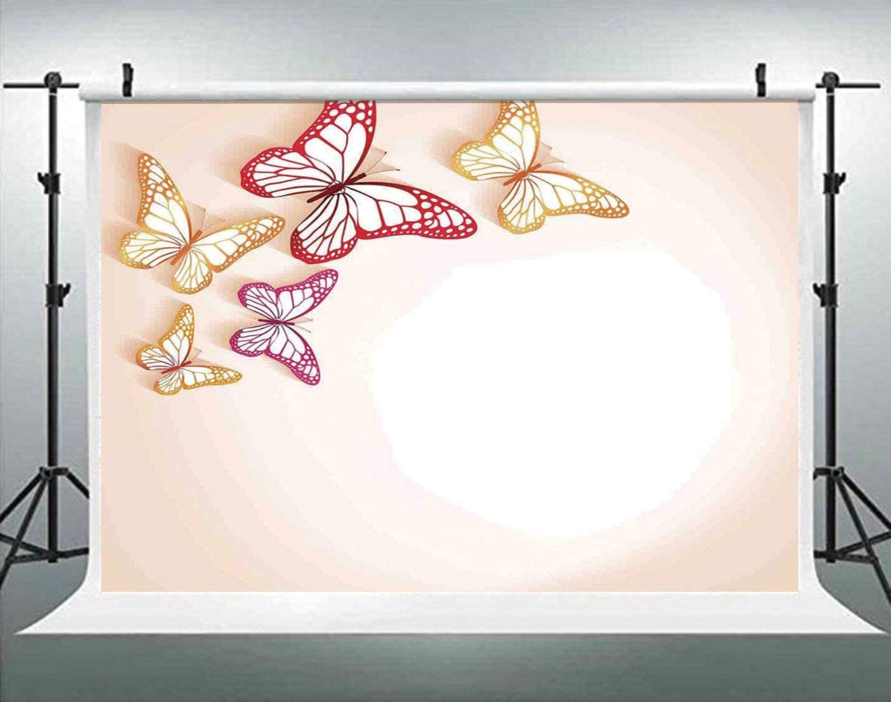 ALUONI 5x3ft,Pop Art Culture Graphic of Ancient with Angel Wings On Spiral Party Backdrop Photography Background Baby Adult Abstract Banner Cake Table Decoration Photo Booth AM000731