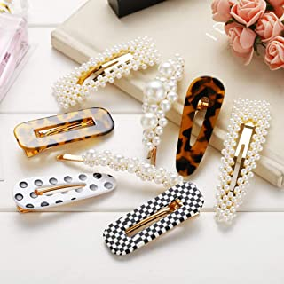 Large Pearl Hair Clips Resin Hairpins Pearl Hair Barrettes,Gold Acrylic Leopard Marble Geometric Hairpin, Tortoise Hair Clips for Women Girls-Pearl and Resin Clips Set 8 Pack