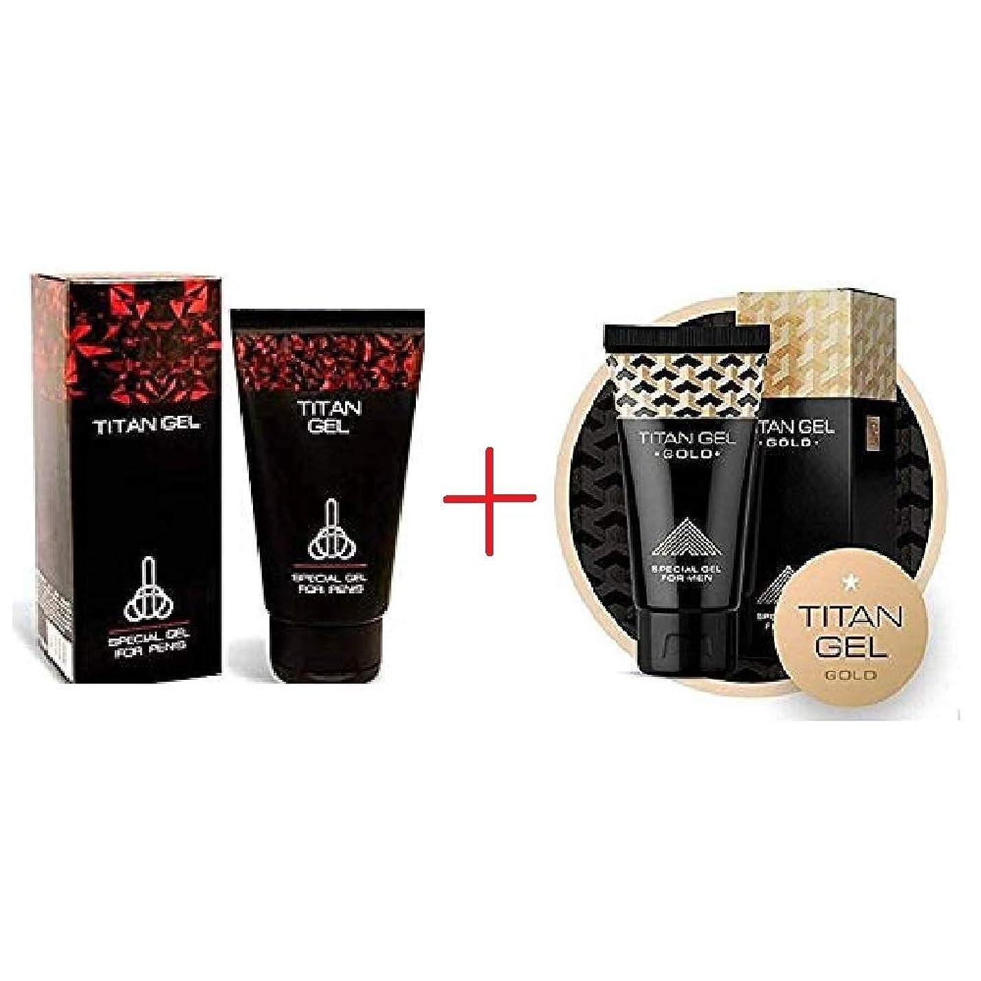 ロビー髄空気タイタンジェル Titan gel 50ml +タイタンジェル ゴールド Titan gel Gold 50ml 日本語説明付き [並行輸入品]