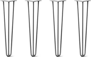 """24"""" DIY Hairpin Legs 4 Per Set - 100% Made in USA from Recycled Steel - Heavy-Duty Standard, Tested to Hold 100s Lbs - Table, Desk, Sofa (3/8"""" Thick Raw Steel, 3-Rod)"""