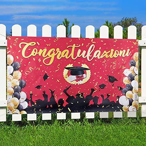 BETESSIN Decorazione Laurea Festa Banner Congratulazioni Festone Striscione Laurea Ghirlanda Bandiera per Festa Laurea Casa Fai da Te