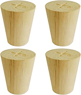 Btibpse 50x35x60mm Wooden Furniture Legs Cone Shaped Wooden Feets for Cabinets Sofa Table Set of 4