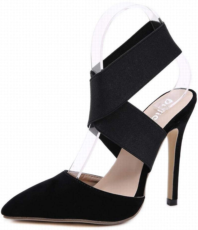 Sugoishop Women's High Heel Pointed Elastic Cross High Heel Sandals High Heels