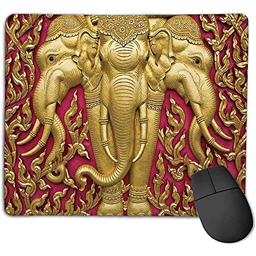 Muis Pad Olifanten Decor Olifant Gesneden Gouden Verf op Deur Thaise Spiritualiteit Standbeeld Klassiek e Kantoor