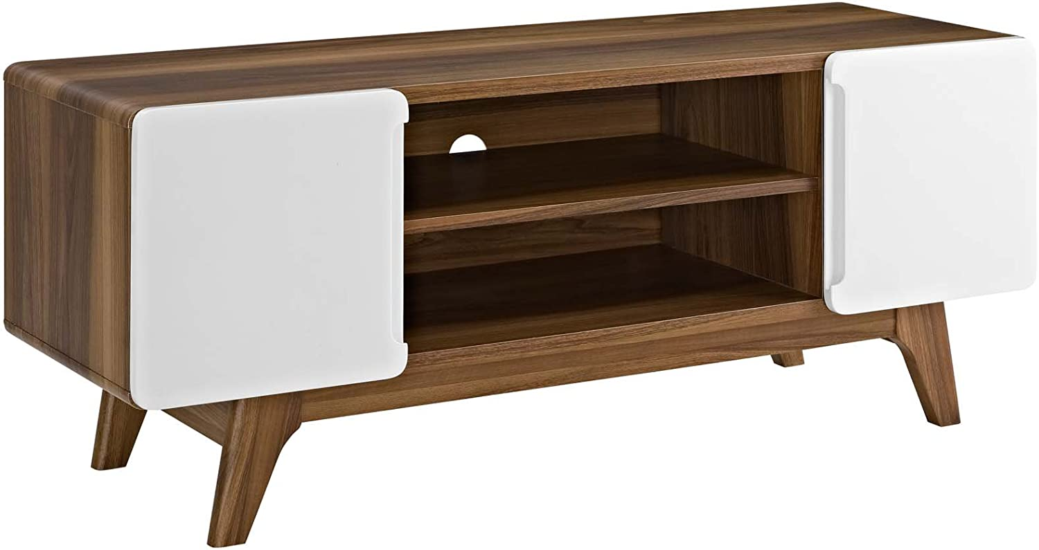 Modway Tread Mid-Century Modern Same day We OFFer at cheap prices shipping 47 Inch Walnut Stand White TV in