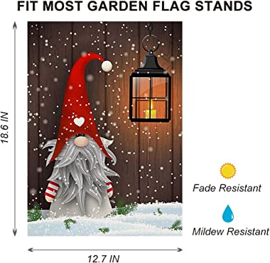 ORIY Christmas Gnome Garden Flag ,Double-Sided Home Rustic Winter Garden Yard Decorations,New Year Vintage Seasonal Outdoor F