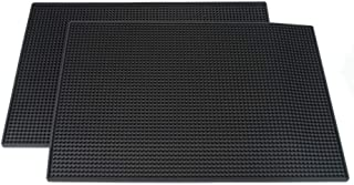 PVC Bar Service Mat for Cocktail Bartender 18x12 inches (Black 2-Pack)