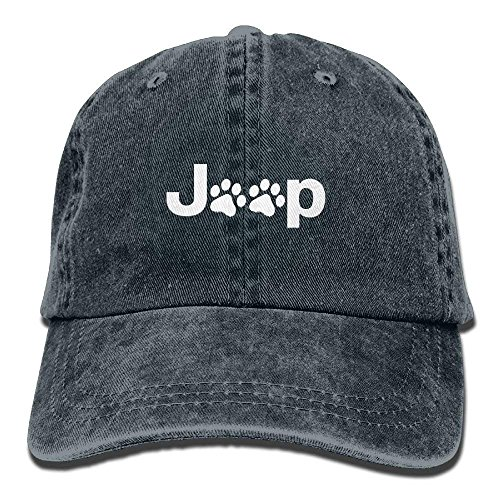 Hoswee Unisex Kappe/Baseballkappe, Jeep Dog Paw Plain Adjustable Cowboy Cap Denim Hat for Women and Men