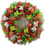 Christmas Wreath | Christmas Decoration | Mesh Outdoor Front Door Wreath | Red Lime Green White : C1