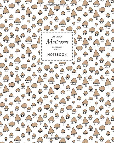 One Million Mushrooms Notebook - Ruled Pages - 8x10 Cuaderno (Button Brown)