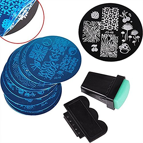 Lot de 10 modèles de tampon en métal pour stamping nail art