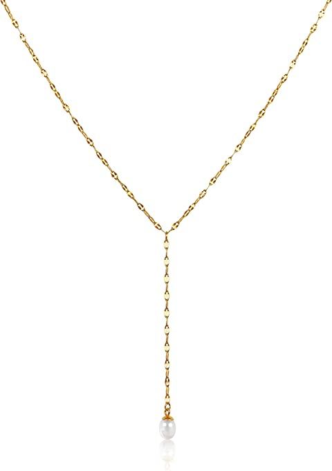 Classic Y Necklace For Women | Long Gold Necklaces for Women | Pendant Pearl Y Necklace, Gold Necklace For Women | Lariat Layering Gold Jewelry, Y Pearl Necklace | Dainty Drop Necklaces