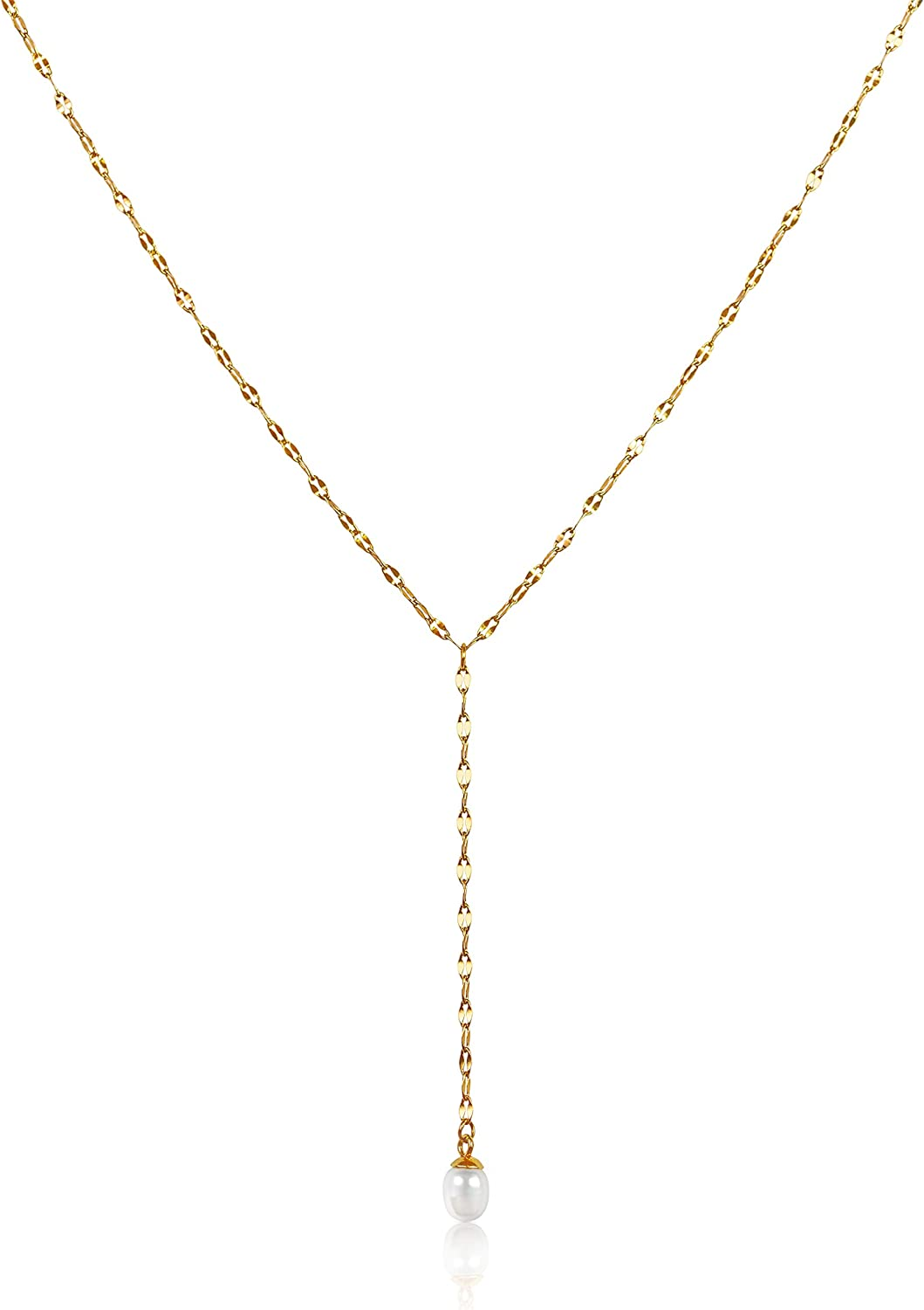 Classic Y Necklace For Women   Long Gold Necklaces for Women   Pendant Pearl Y Necklace, Gold Necklace For Women   Lariat Layering Gold Jewelry, Y Pearl Necklace   Dainty Drop Necklaces   Lariat Necklaces for Women