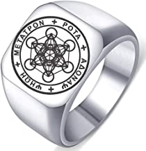 Seal of Archangel Metatron Cube Mens Womens Stainless Steel Protection Amulet Ring