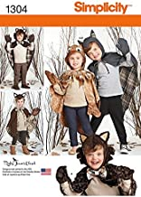 SIMPLICITY US1304A Child's Lined Animal Cape Costumes Sewing Template