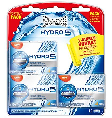 Wilkinson Sword Hydro 5 scheermesjes, voor heren scheerapparaat, grote verpakking, jaarvoorraad, 12 stuks