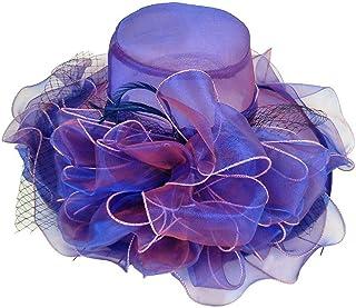 YiyiLai Large Flower Organza Church Hat Brim Sun Hat Folding Derby Cap