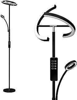 Anten Eclipse I Lampadaire sur Pied Salon LED 20W Noir I Lampadaire avec lampe de lecture et télécommande I 3 couleurs de ...