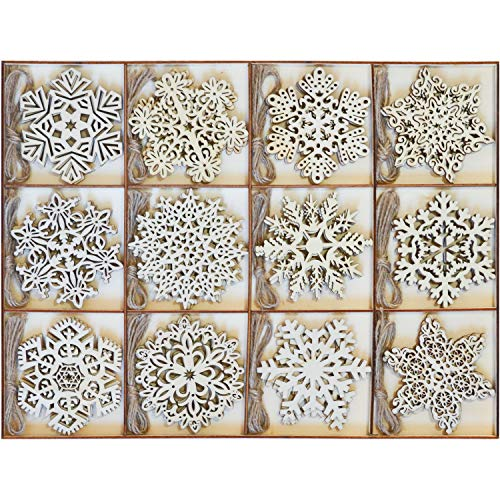 Joiedomi 36 Pcs Wooden Christmas Ornaments Hanging Snowflakes Ornaments for Indoor/Outdoor Holidays, Party Decoration, Tree Ornaments, Events, and Christmas