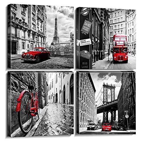 Leinwand Bild Format Wandbilder Wohnzimmer Wohnung Deko Kunstdrucke Rot 4 Teilig, Art Bilder London Bus Wandbild für Büro, Wasserfest,B,30x30cmx4