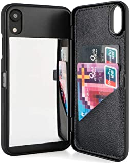 W7ETBEN iPhone XR Case,Hidden Back Mirror Wallet Case with Stand Feature and Card Holder for Apple iPhone XR 6.1 inch (Black)