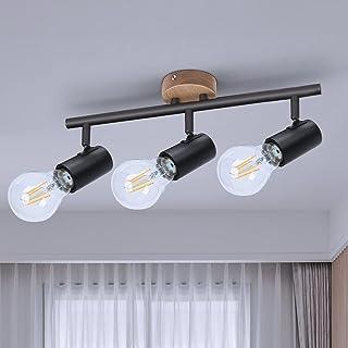 Plafonnier 3 Spots Orientables, TaFiCo Rampe de Spots Douille E27 en Bois et Acier, Spot de Plafond avec 3 Lampe Rétro au ...