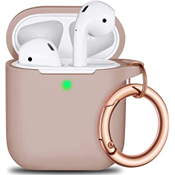 AirPods Case Cover with Rosegold Keychain, Full Protective Silicone AirPods Accessories Skin Cover for Women Girl with Apple AirPods Wireless Charging Case,Front LED Visible-Milk Tea