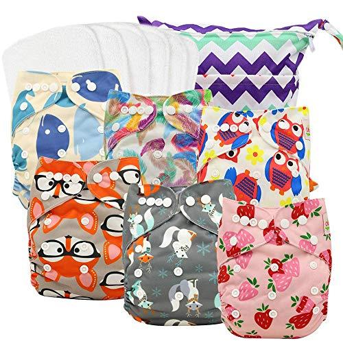 ohbabyka Wiederverwendbare Unisex Baby Tuch Pocket Windeln All in One mit 1?weichen Tuch inneren (0-6pcs-2)