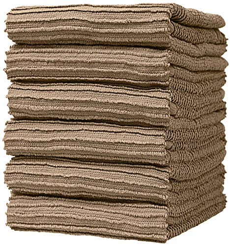 """Premium Kitchen Towels (16""""x 26"""", 6 Pack) – Large Cotton Kitchen Hand Towels – Ribbed Design – 340 GSM Highly Absorbent Tea Towels Set with Hanging Loop – Tan"""