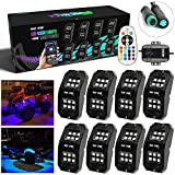 SUNPIE 8Pods Upgraded 210 Degrees Wide Angle RGBW LED Rock Lights Lights with Phone App/Remote Control & Timing & Music Mode & Flashing & Automatic Control Neon Lights Under Off Road Truck SUV ATV
