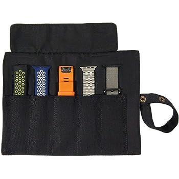 YOOSIDE スマートウォッチバンド 収納バッグ 5本格納 キャンバスポータブル ウォッチバンド ホルダー Apple/Garmin/Samsungなどのスマートウォッチ用交換バンドを保管 (ブラック)