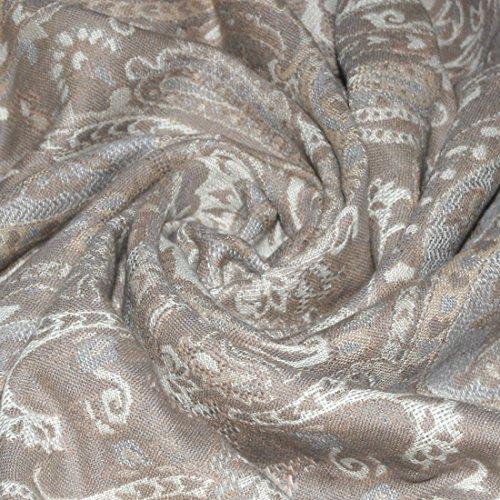 LORENZO CANA Couverture de 90% Coton et de 10% Laine – Couvre-lit, jeté de canapé ou Plaid avec de Laine de Merino - Confortable en Beige Blanc Ecru