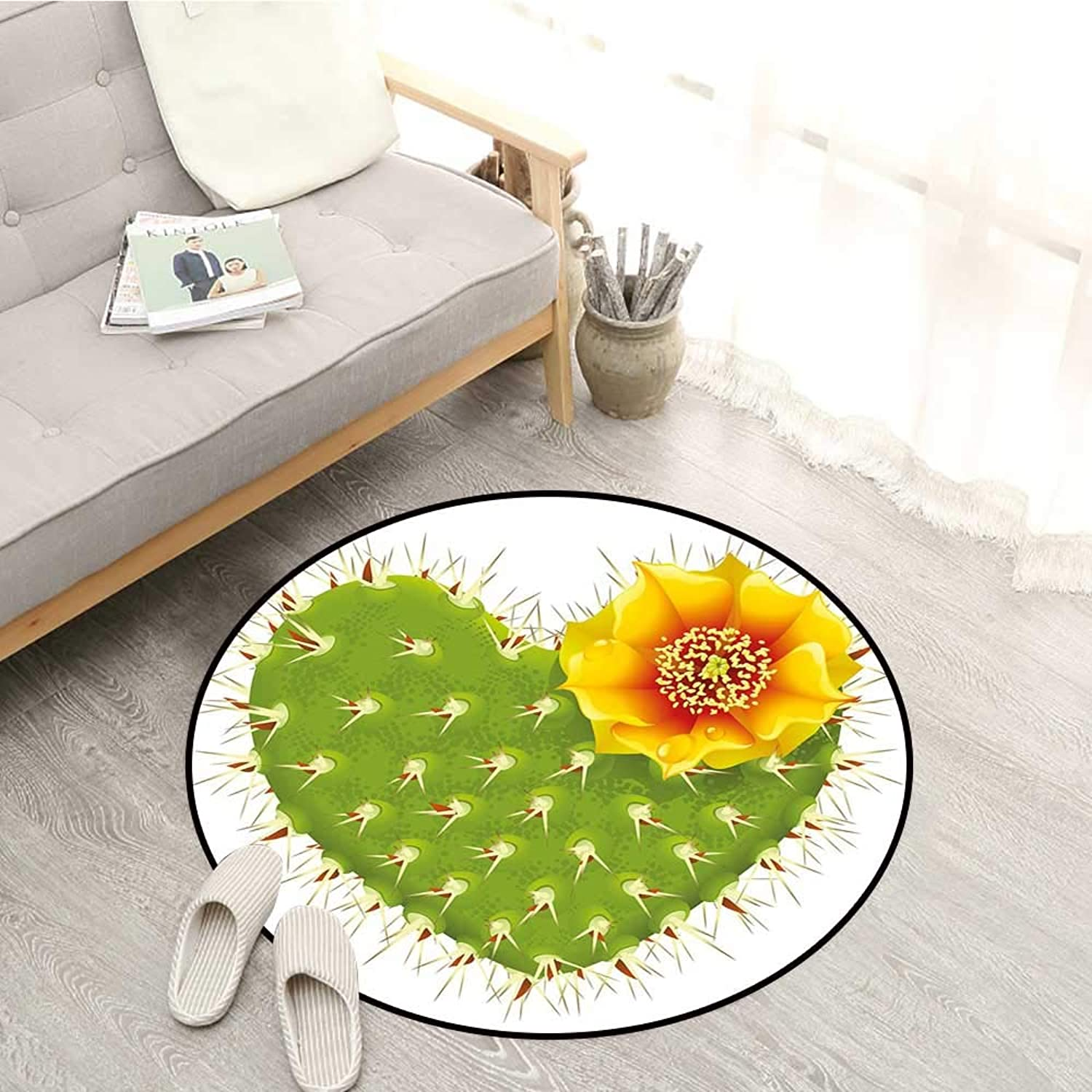 Cactus Decor Kids Rugs Thorny Cactus in The Shape of Heart and Yellow Flower Opuntia Spikes Sofa Coffee Table Mat 3'11  Green Yellow orange
