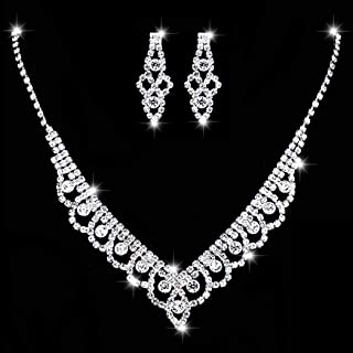 Unicra Bride Silver Necklace Earrings Set Crystal Bridal Wedding Jewelry Sets Rhinestone Bridesmaid Party Choker Necklace ...